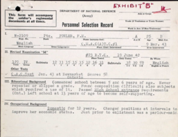 Personnel Selection Form– Submitted for the project, Operation Picture Me