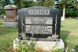Grave marker– The grave of Sergeant Edgar A. Archer, Royal Canadian Army Service Corps, is marked by a family monument in the Elmvale Presbyterian Cemetery, Elmvale, Ontario.  (Image taken by Gregory J. Barker of Barrie, Ontario, in 2018.)
