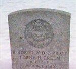 Gravemarker– Lorne Hugh Green's burial plot in Foot's Bay United Church, Ontario