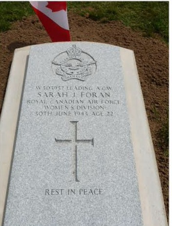 Grave Marker– Thank you to the Commonwealth War Graves Commission for replacing damaged headstone of LAW SARAH J. FORAN.