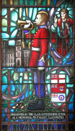Stained Glass Window– 1385 Capt George Kenneth Crowe (RMC 1934) was the husband of Dorothy M. Crowe, of Montreal, Quebec. He served with the Royal Canadian Engineers. He died on Jun 2, 1940 at 39 years of age. He was buried in the Woodlawn Cemetery in Guelph, Ontario, Canada Sec. 11. Block E. Lot 3. Grave 4. His name is listed on the commemorative bricks at the June Beach Centre.