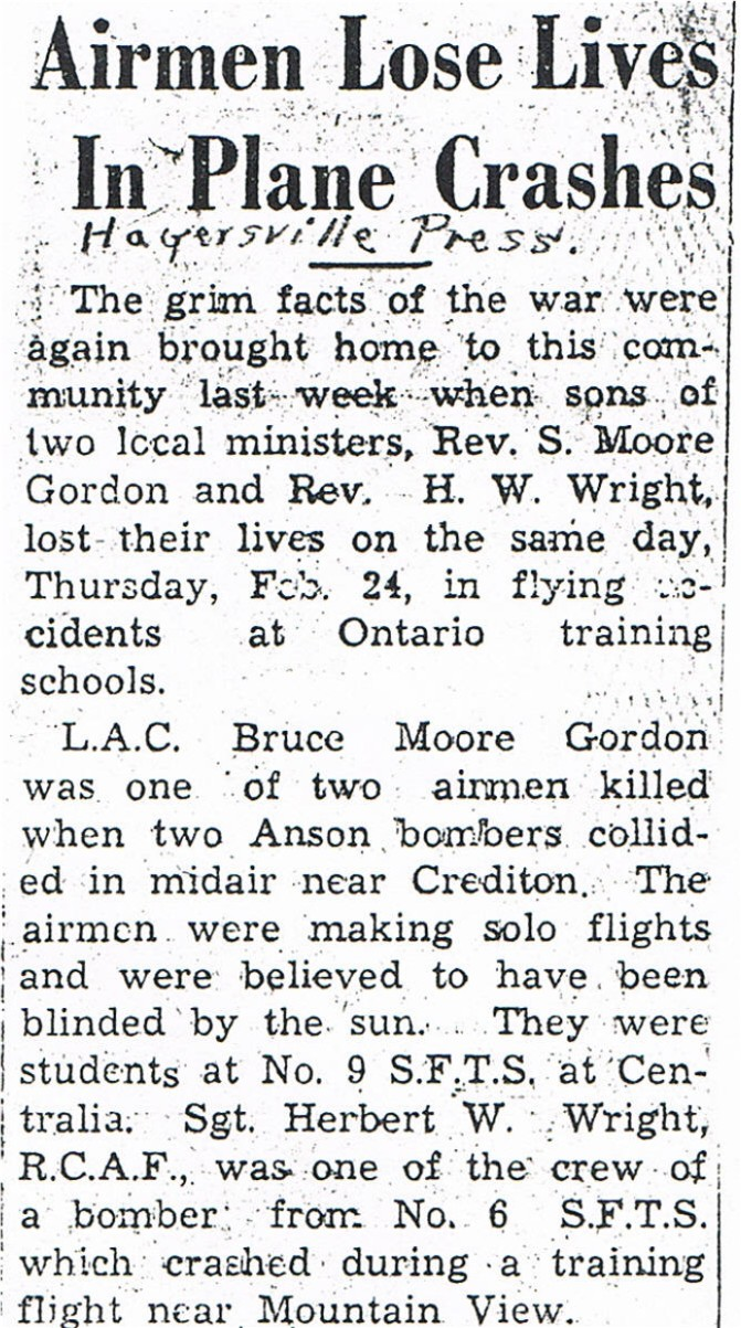 Newspaper Clipping– Newspaper clipping from the 'Hagersville Press' (Part 1).