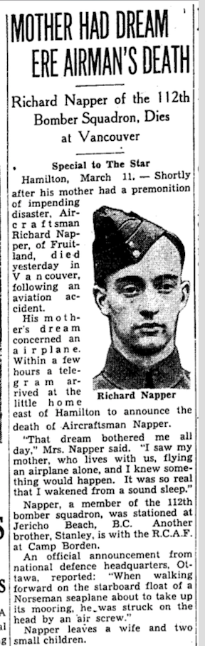 Newspaper clipping– From the Toronto Star March 1940. Submitted for the project Operation Picture Me