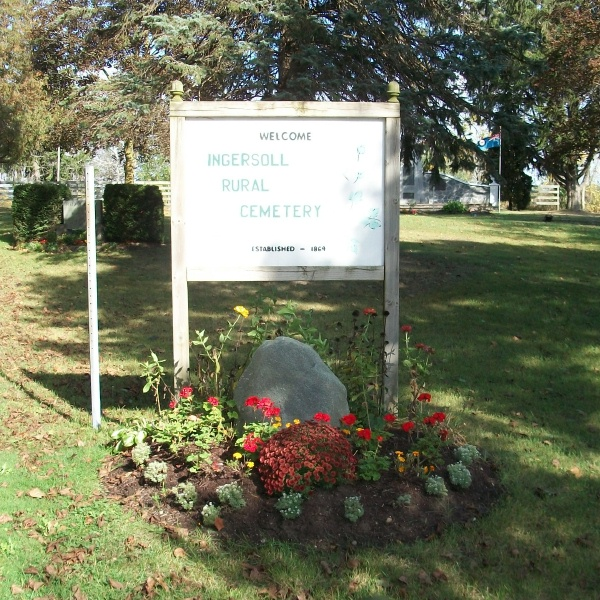 Entrance– Ingersoll Rural Cemetery, Ingersoll, ON - October 2017 ... photo courtesy of Marg Liessens
