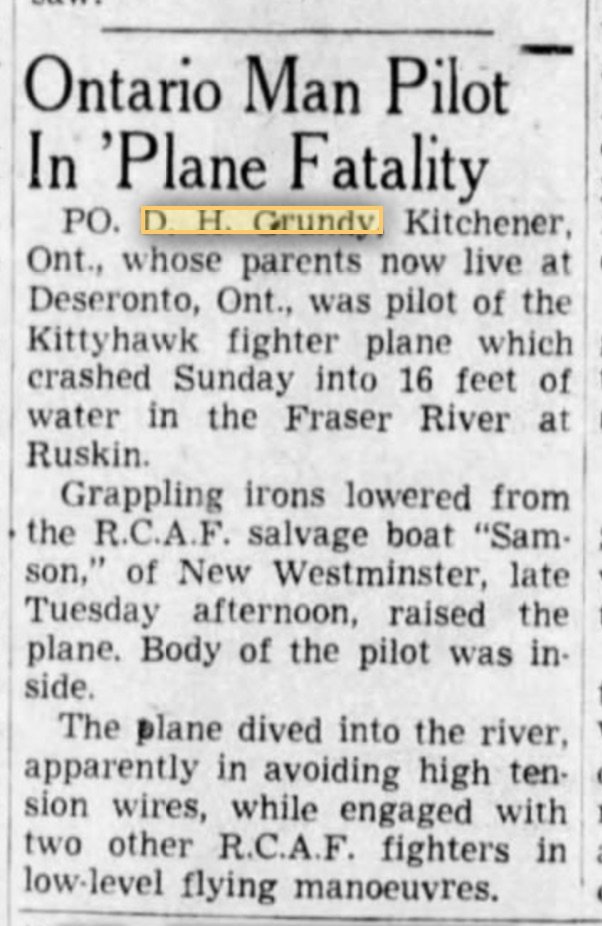 Newspaper clipping– Newspaper article reporting the accident involving David H. Grundy, The Province, January 17, 1945