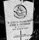 Grave marker– Flight Sgt. Paterson rests peacefully neath the bushes of St. Andrew's Cemetery.  We thank him for his service.