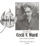 Memorial Page– Cecil Ward is honoured on page 161 of the Gananoque Remembers booklet, published on January 31, 2005.