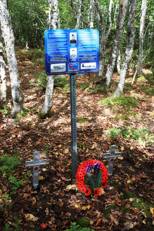 Memorial– The Memorial was create and installed by Norm & Dan at the crash site on September 21, 2103. The two metal crosses where installed by the Royal Canadian Legion Pugwash, NS.