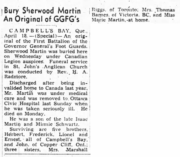 Newspaper Clipping– S.L. Martin's Funeral, from the Ottawa Journal on April 19, 1946