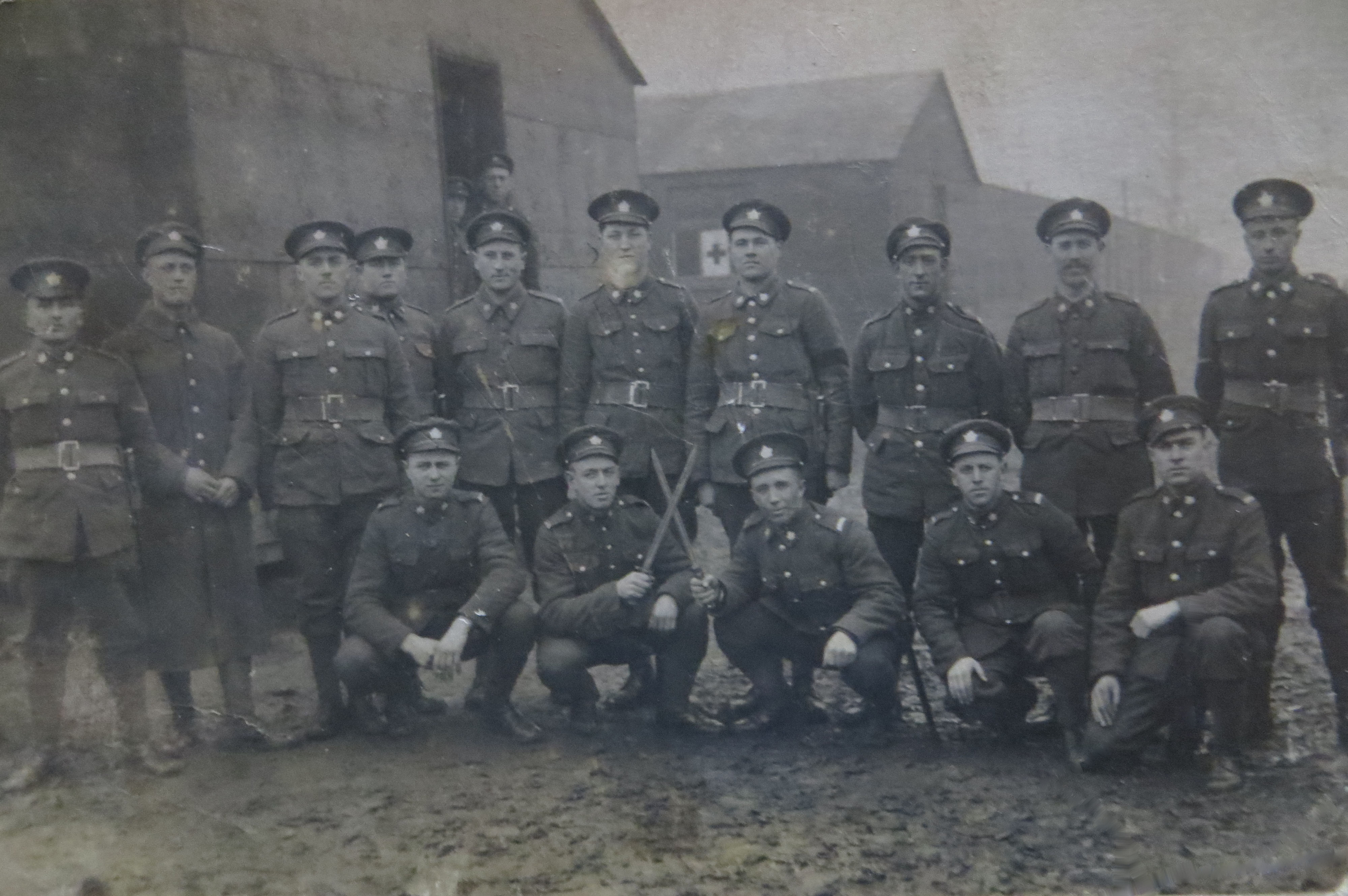 Group Photo– Wilfrid Blais in long coat, possibly in England WW1, 2nd from left.