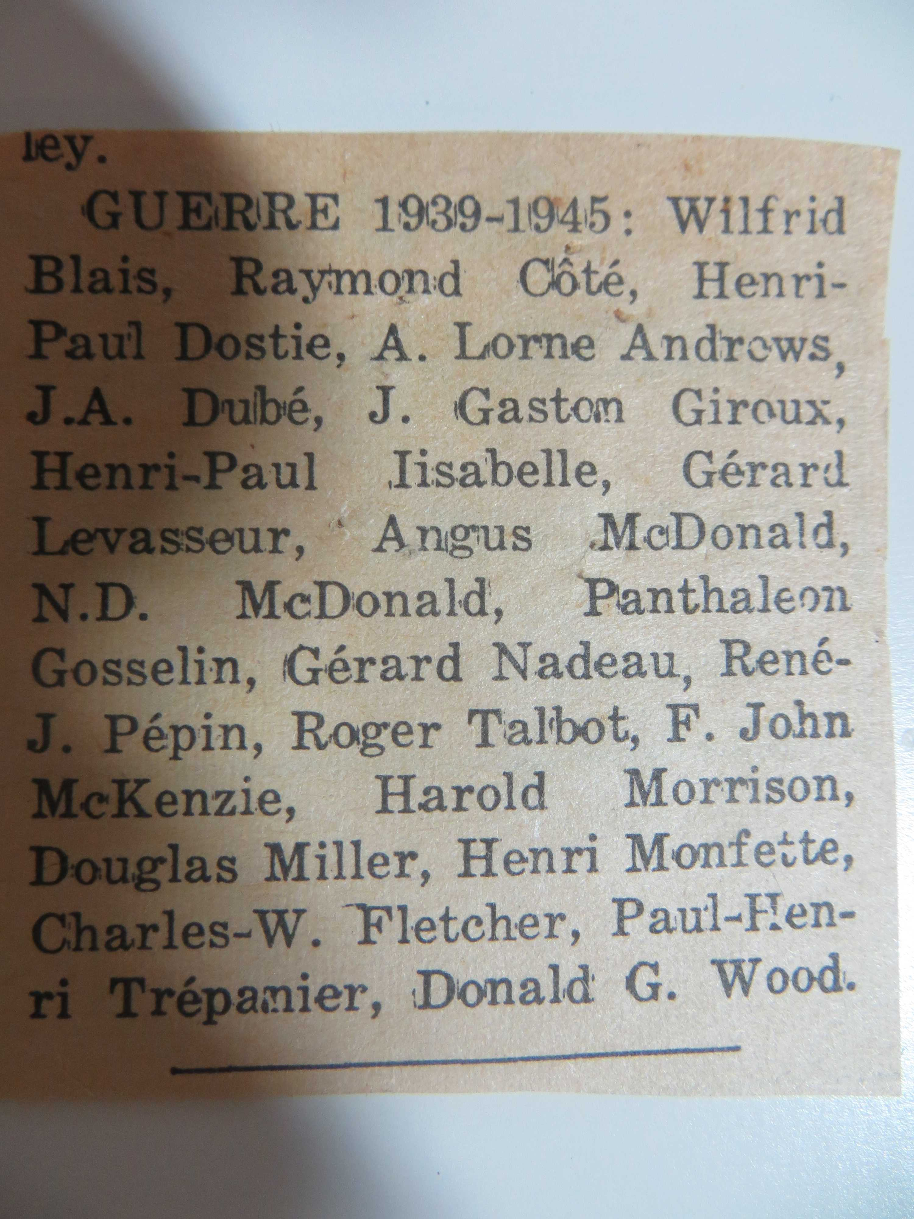 Newspaper Clipping– Obituary - Military Death Notices
