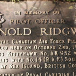 "Memorial– Memorial for Pilot Officer Arnold Ridgway located in remote area of Lynn Headwaters Park in North Vancouver (Location N 49 21'21.5""; W 123 01'21.3"")"
