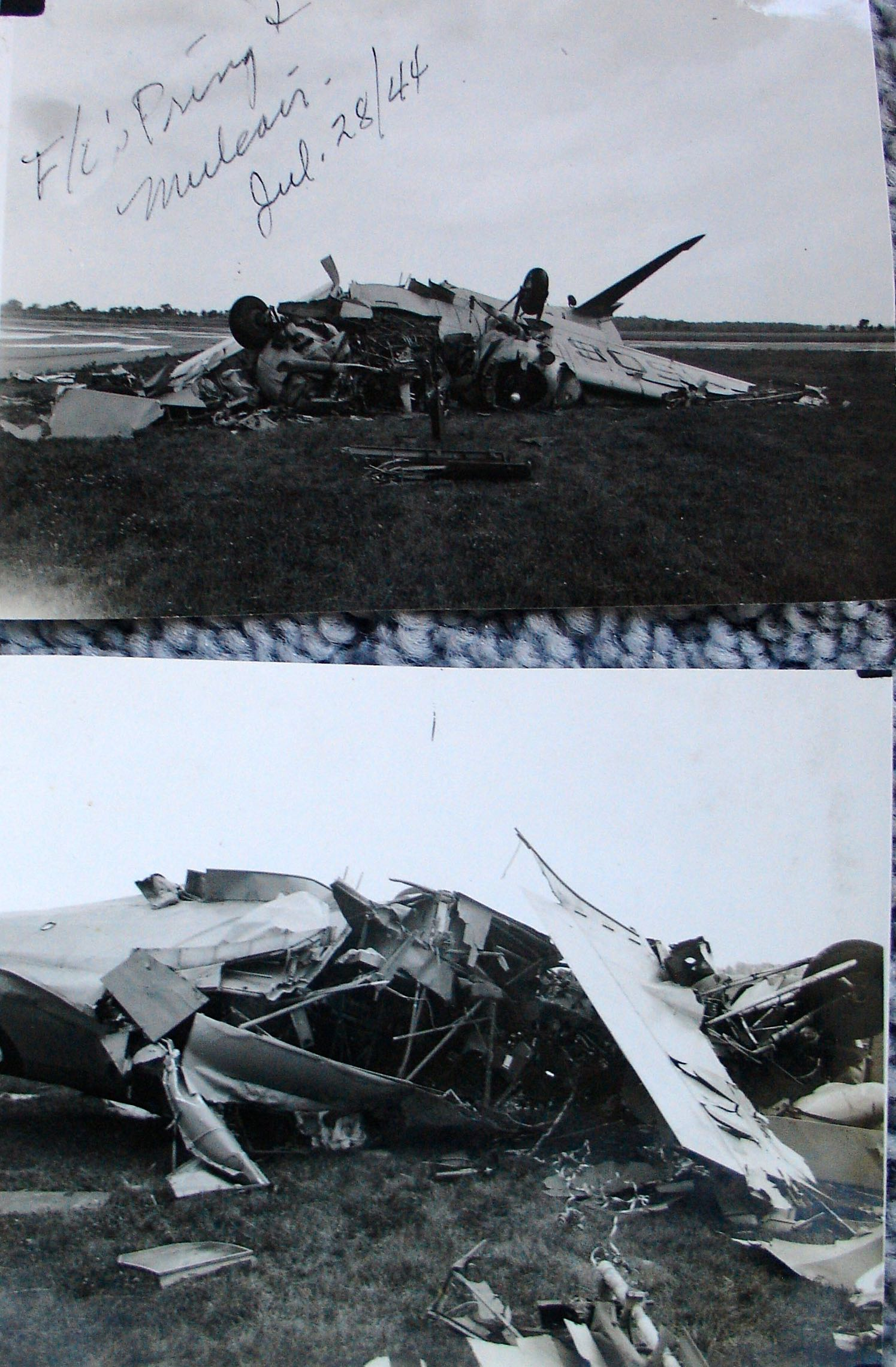 Crash– Photo of Anson plane crash on July 28, 1944.  Photos from the collection of Ruth E. (Owen) Whitelegg, former Leading Aircraftwoman, photographer at #9 SFTS Centralia.