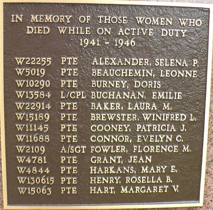 Memorial Plaque– On May 5, 2001, the Lieutenant-Governor of Ontario, Her Honour Mrs. Hillary Weston unveiled the Canadian Women's Army Corps Memorial Monument in Kitchenor Waterloo. This memorial honours the women who served in the C.W.A.C. between 1941 and 1946. It also lists those who died while on service.