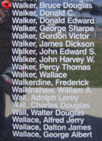 Memorial– Flying Officer Bruce Douglas Walker is also commemorated on the Bomber Command Memorial Wall in Nanton, AB … photo courtesy of Marg Liessens