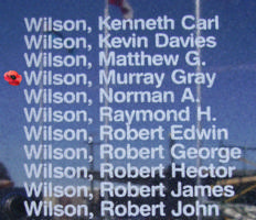 Memorial– Flight Lieutenant W OP/Air Gunner Murray Gray Wilson is also commemorated on the Bomber Command Memorial Wall in Nanton, AB … photo courtesy of Marg Liessens