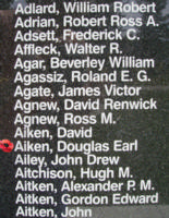 Memorial– Pilot Officer Douglas Earl Aiken is also commemorated on the Bomber Command Memorial Wall in Nanton, AB … photo courtesy of Marg Liessens