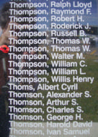 Memorial– Flying Officer Thomas Wellwood Thompson is commemorated on the Bomber Command Memorial Wall in Nanton, AB … photo courtesy of Marg Liessens