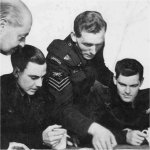 Photo of Max Feindel Robbins– Flight Sergeant Max Robbins in center of photo with Flying Officer Albert Cook on his left.