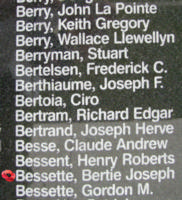 Memorial– Flight Sergeant Bertie Joseph August Bessette is also commemorated on the Bomber Command Memorial Wall in Nanton, AB … photo courtesy of Marg Liessens