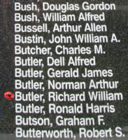 Memorial– Sergeant Richard William Butler is also commemorated on the Bomber Command Memorial Wall in Nanton, AB … photo courtesy of Marg Liessens