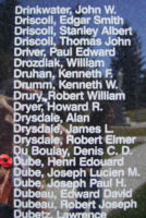Memorial– Pilot Officer Henri Edouard Dube is also commemorated on the Bomber Command Memorial Wall in Nanton, AB … photo courtesy of Marg Liessens
