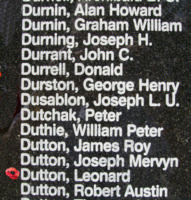 Memorial– Flight Sergeant Leonard Dutton is also commemorated on the Bomber Command Memorial Wall in Nanton, AB … photo courtesy of Marg Liessens