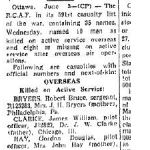 """Newspaper Clipping– Toronto Star """"Pages of the Past"""" online 1943 June 3 p 23. May 25, 1943  Short S.25 Sunderland III  DD846  2-D  RAF  422 (RCAF) Sqn  Mayo  Clare Island, Clew Bay SOURCE: Foreign Aircraft Landings in Ireland 1939 - 1946 (non-RCAF names available)"""