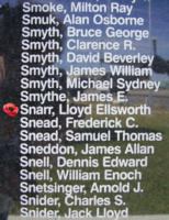 Memorial– Warrant Officer Class II Lloyd Elsworth Snarr is commemorated on the Bomber Command Memorial Wall in Nanton, AB … photo courtesy of Marg Liessens
