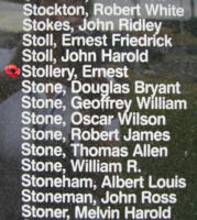 Memorial– Flying Officer Ernest Stollery is commemorated on the Bomber Command Memorial Wall in Nanton, AB … photo courtesy of Marg Liessens