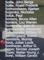 Memorial– Flight Sergeant Julius Louis Soos as commemorated on the Bomber Command Memorial Wall in Nanton, AB … photo courtesy of Marg Liessens