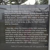 Memorial– Father J P Lardie's comments as inscribed on the Bomber Command Memorial Wall in Nanton, AB … photo courtesy of Marg Liessens