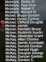 Memorial– Flying Officer Clifford Douglas McIvor is also commemorated on the Bomber Command Memorial Wall in Nanton, AB … photo courtesy of Marg Liessens