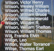 Memorial– Flight Sergeant William Routledge Wilson is also commemorated on the Bomber Command Memorial Wall in Nanton, AB … photo courtesy of Marg Liessens
