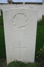 Grave Marker– A photograph of the headstone at the Orchard Dump Cemetery. May he rest in peace.