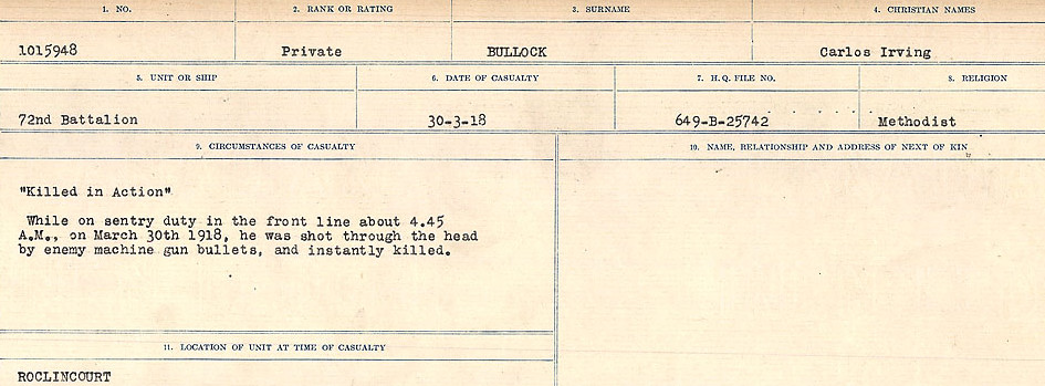 Circumstances of Death Registers– Source: Library and Archives Canada.  CIRCUMSTANCES OF DEATH REGISTERS FIRST WORLD WAR Surnames: Brubacher to Bunyan. Mircoform Sequence 15; Volume Number 31829_B016724; Reference RG150, 1992-93/314, 159 Page 557 of 668