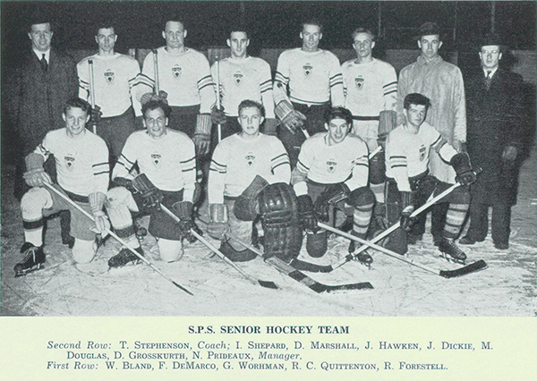 Group Photo– Photograph from Torontonensis,  University of Toronto's yearbook in 1942 shows Prideaux's involvement on the School of Practical Sciences' (S.P.S.) Senior Hockey Team. Prideaux is seen in the second row and was the manager. Robert Forestell, shown in front row, was also killed in the Second World War.