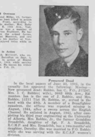 Photo of IAN CRICHTON ROBBIE– From the Loyal Edmonton Regimental magazine the Fortyniner.  Submitted for the project, Operation Picture Me