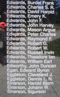 Memorial– Flying Officer John Harvey Edwards is also commemorated on the Bomber Command Memorial Wall in Nanton, AB … photo courtesy of Marg Liessens