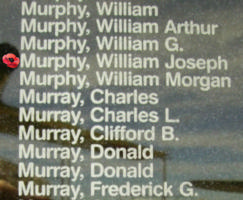 Memorial– Flight Lieutenant William Joseph Bernard Murphy is also commemorated on the Bomber Command Memorial Wall in Nanton, AB … photo courtesy of Marg Liessens