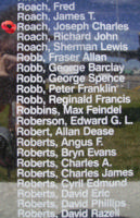 Memorial– Pilot Officer Joseph Charles Roach is commemorated on the Bomber Command Memorial Wall in Nanton, AB … photo courtesy of Marg Liessens