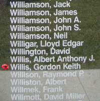Memorial– Flying Officer Gordon Keith Willis is also commemorated on the Bomber Command Memorial Wall in Nanton, AB … photo courtesy of Marg Liessens