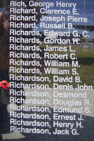 Memorial– Pilot Officer Denis John Richardson is commemorated on the Bomber Command Memorial Wall in Nanton, AB … photo courtesy of Marg Liessens