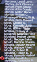 Memorial– Sergeant Ronald Loughton Movold is also commemorated on the Bomber Command Memorial Wall in Nanton, AB … photo courtesy of Marg Liessens