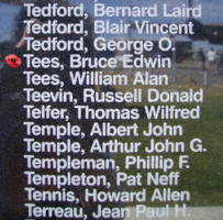 Memorial– Pilot Officer Bruce Edwin Tees is commemorated on the Bomber Command Memorial Wall in Nanton, AB … photo courtesy of Marg Liessens