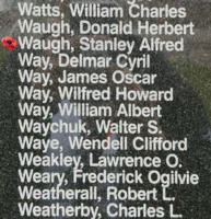 Memorial– Flying Officer Stanley Alfred Waugh is also commemorated on the Bomber Command Memorial Wall in Nanton, AB … photo courtesy of Marg Liessens