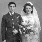 Wedding photo– Harold Yerdon and Mildred Cotter on their wedding day, 7 October 1944. This was just 18 days before Harold died in a training accident.