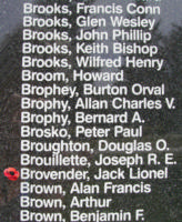 Memorial– Sergeant Jack Lionel Brovender is also commemorated on the Bomber Command Memorial Wall in Nanton, AB … photo courtesy of Marg Liessens