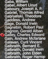 Memorial– Sergeant Charles Edward Gailey is also commemorated on the Bomber Command Memorial Wall in Nanton, AB … photo courtesy of Marg Liessens