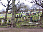 Cemetery– This is a photo of Gordon Belec's grave in Ashbourne Cemetery Derbyshire amongst a group of RAF WW2 casualties.  His grave is in the left row and fourth up the slope (partly obscured by the large tree).